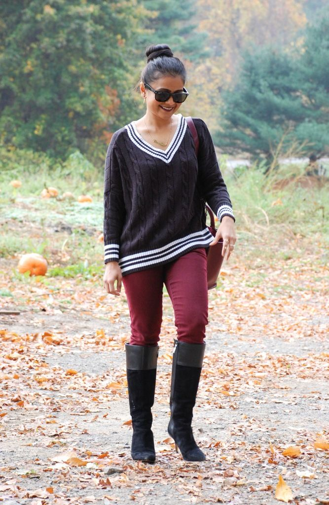 Love Playing Dressup, cricket sweater, articles of society jeans, boots for winter, leather and suede boots, pumpkin patch, boston, winter outfit inspiration , zara, bordeaux pants, burgundy pants, fashion blogger