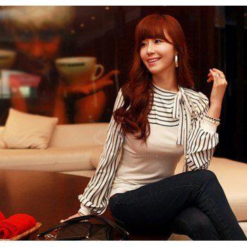 Collar Slim Fit arco rayado Mujeres Puff manga primavera Blusa para Vender - La Tienda En Online IGOGO.ES