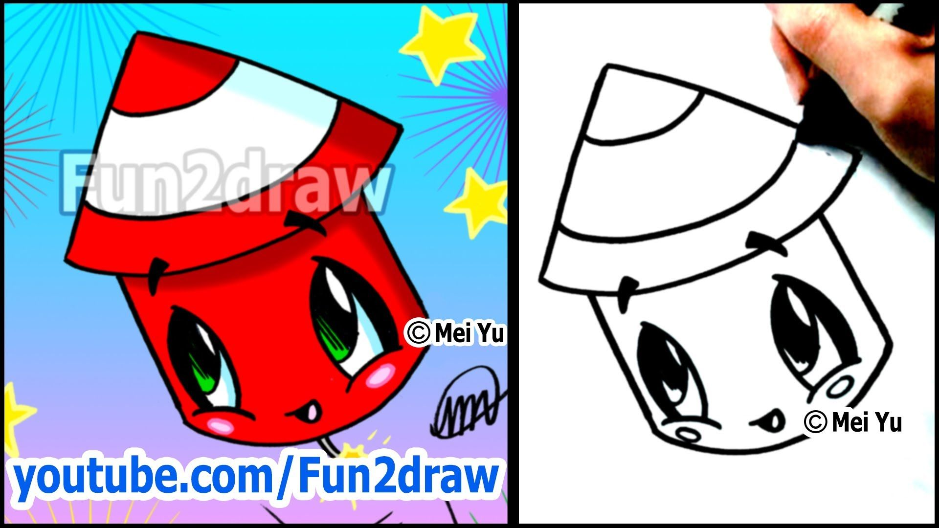 Cute Fireworks How To Draw Holiday Cartoons Bonus Video Fun2draw Cute Easy Drawings Easy Drawings