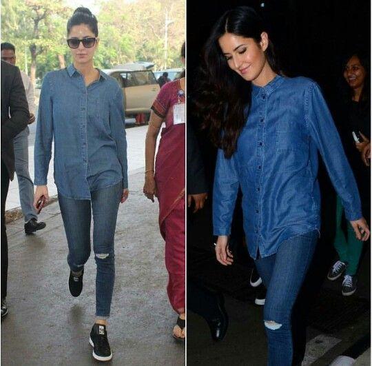 Katrina Kaif wearing deinm shirt on denim jeans at the ...