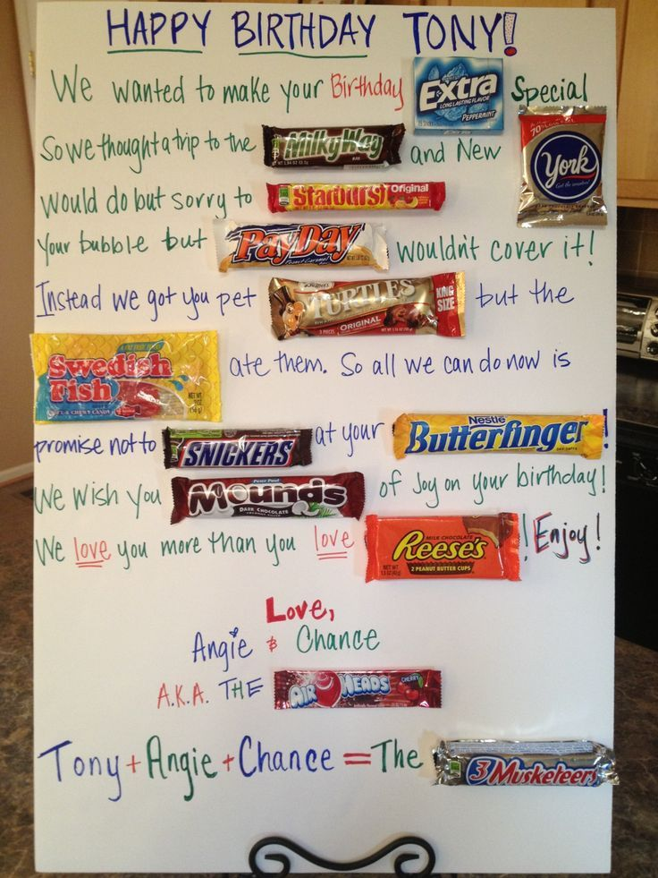 Candy Cards For Birthdays