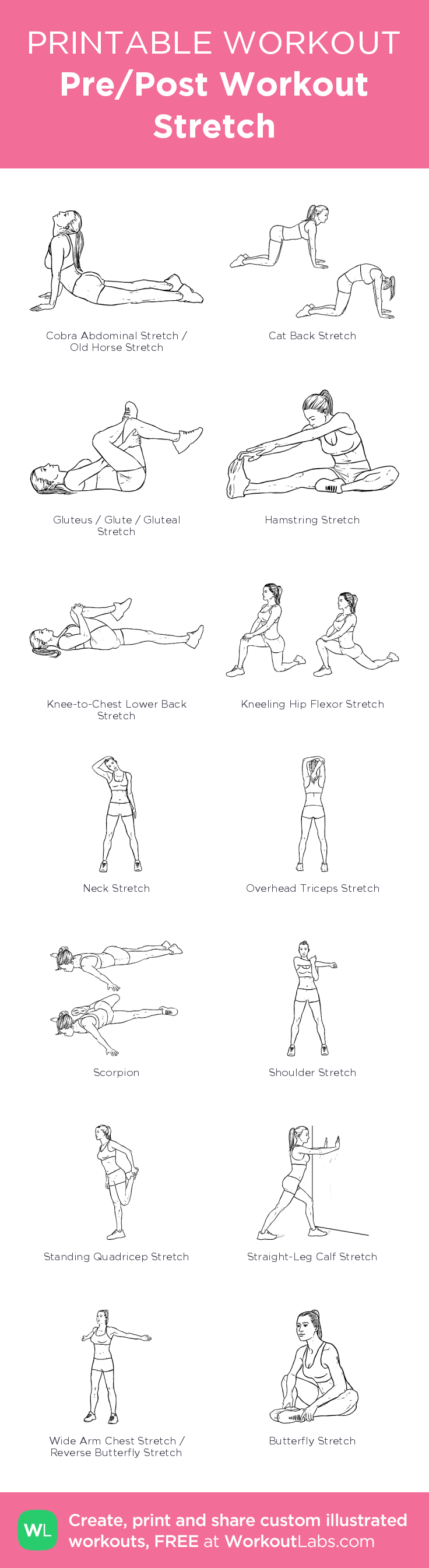 Pre/Post Workout Stretch– my custom exercise plan created at WorkoutLabs.com • Click through to download as a printable workout PDF #customworkout