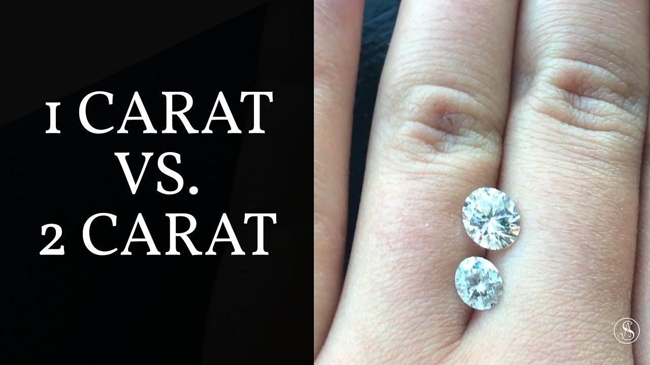 Diamond Carat Size Comparison 1 Carat Vs 2 Carat Round Shape Stones Diamond Carat Size Carat Size Comparison Engagement Ring Guide