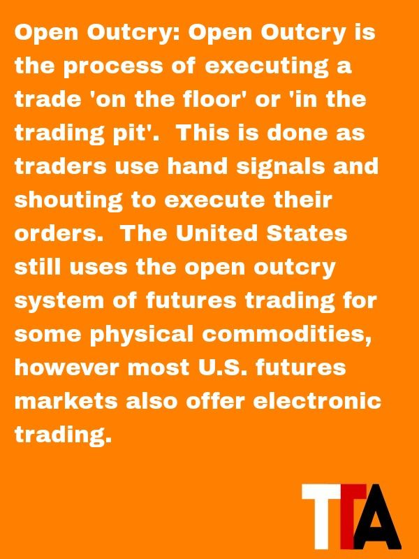 Futures Trading Term Of The Day Open Outcry Open Outcry Is The
