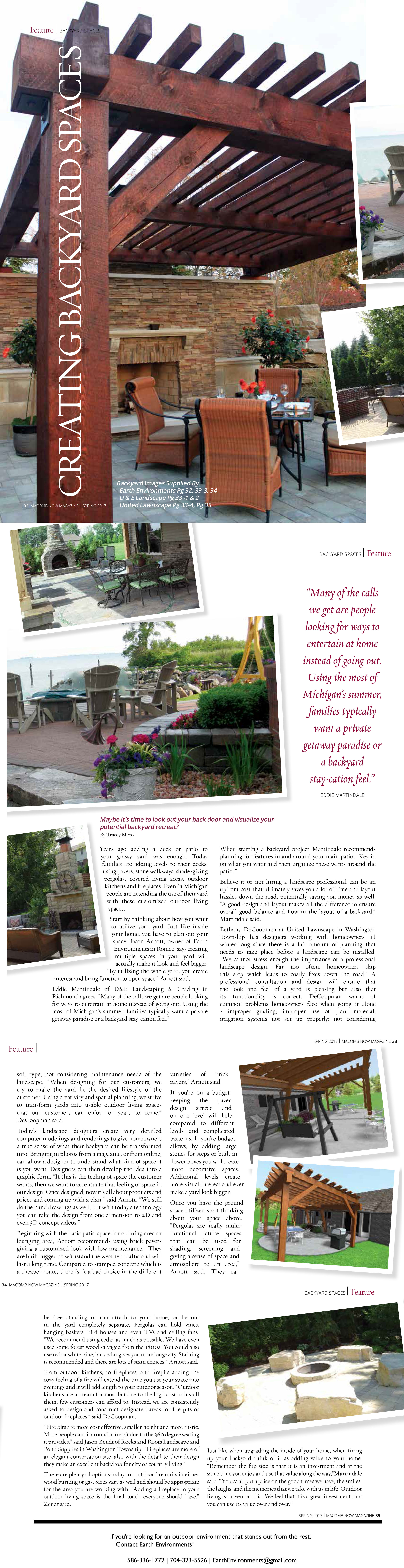 Earth Environments is featured in the Spring 2017 Edition of Macomb Now Magazine!  586-336-1772 | 704-323-5526 | EarthEnvironments@gmail.com