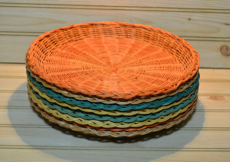 Vintage Wicker Paper Plate Holders Basketweave Made in Hong Kong Orange Green Brown Yellow Set of & Vintage Wicker Paper Plate Holders Basketweave Made in Hong Kong ...