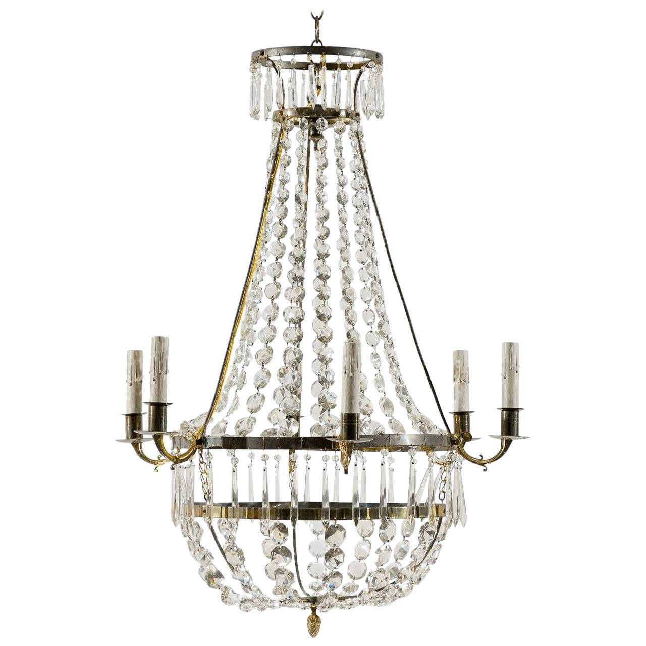 Swedish SixLight Crystal Chandelier From a unique