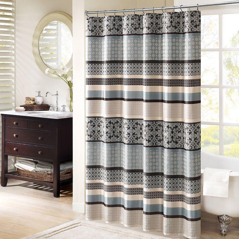 Madison Park Harvard Jacquard Shower Curtain Striped Shower