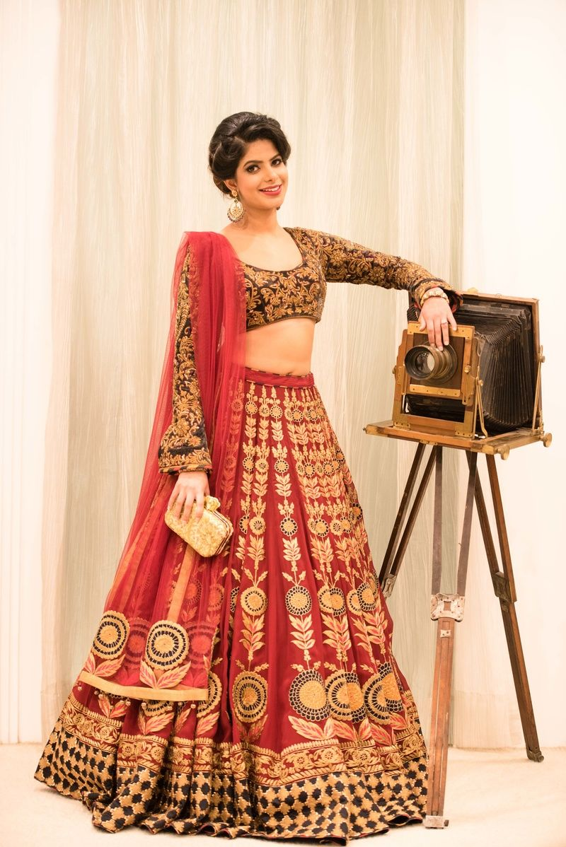 a80ef7d0c712e0 Bridal Lehengas - Black Full Sleeves Blouse with Red and Gold Lehenga with  Zari work | WedMeGood #wedmegood #bridal #lehengas