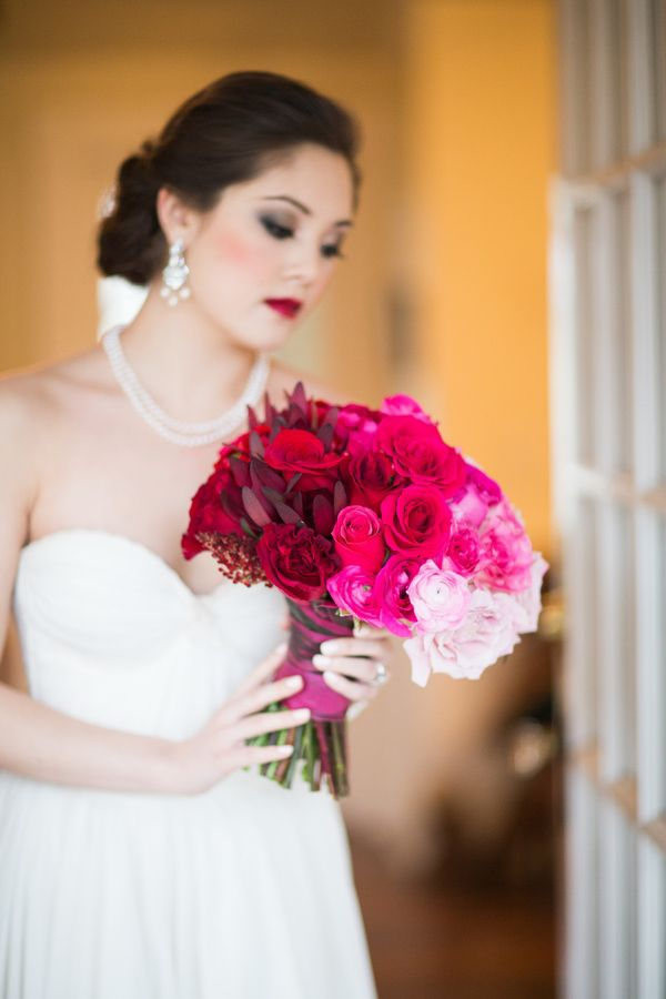 pink and red wedding bouquet http://trendybride.net/pink-and-red-styled-wedding-shoot-from-canada/