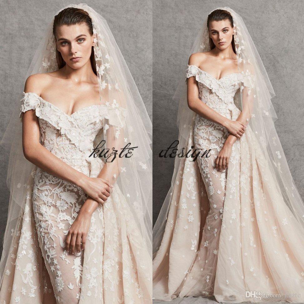 Off the shoulder lace mermaid wedding dress   Zuhair Murad Mermaid Overskirt Wedding Dresses Off The Shoulder