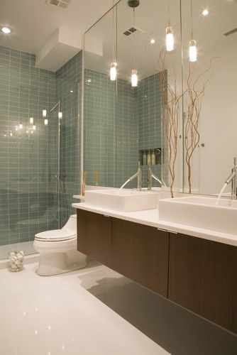 Modern Bathroom White Subway Tile Glass Mosaic Design, Pictures - badezimmer design badgestaltung