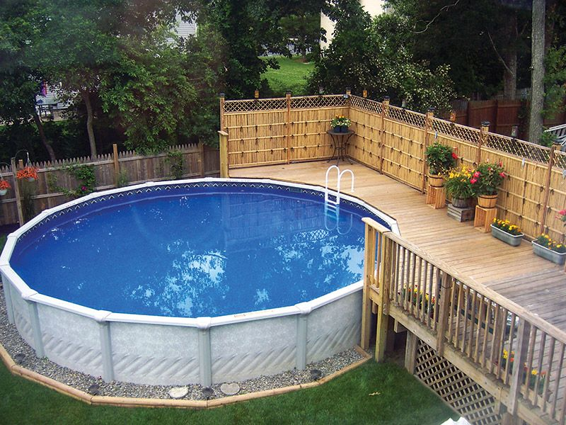 Swimming pool landscaping on pinterest pool landscaping for Above ground pool decks for small yards