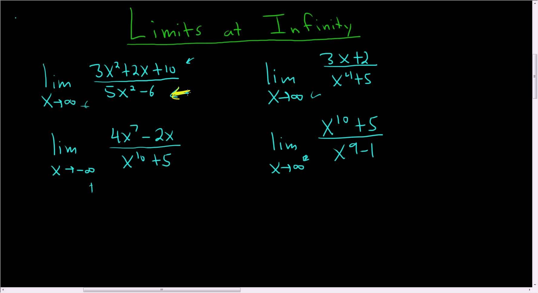 Calculus Limits at Infinity Rational Functions Four Easy