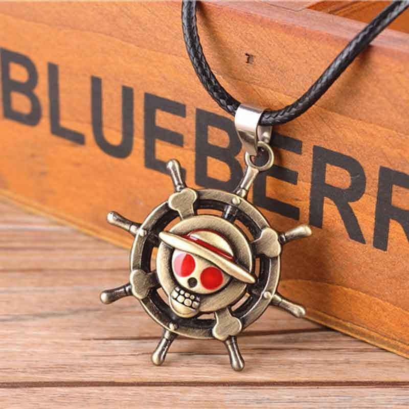 New Anime One Piece Monkey D Luffy Skull Cross Necklace Cosplay Pendant