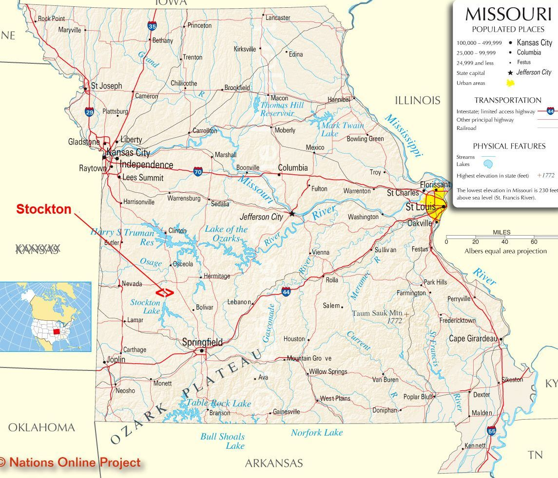 Missouri map Stockton is 4 hours from St Louis I44 to Lebanon