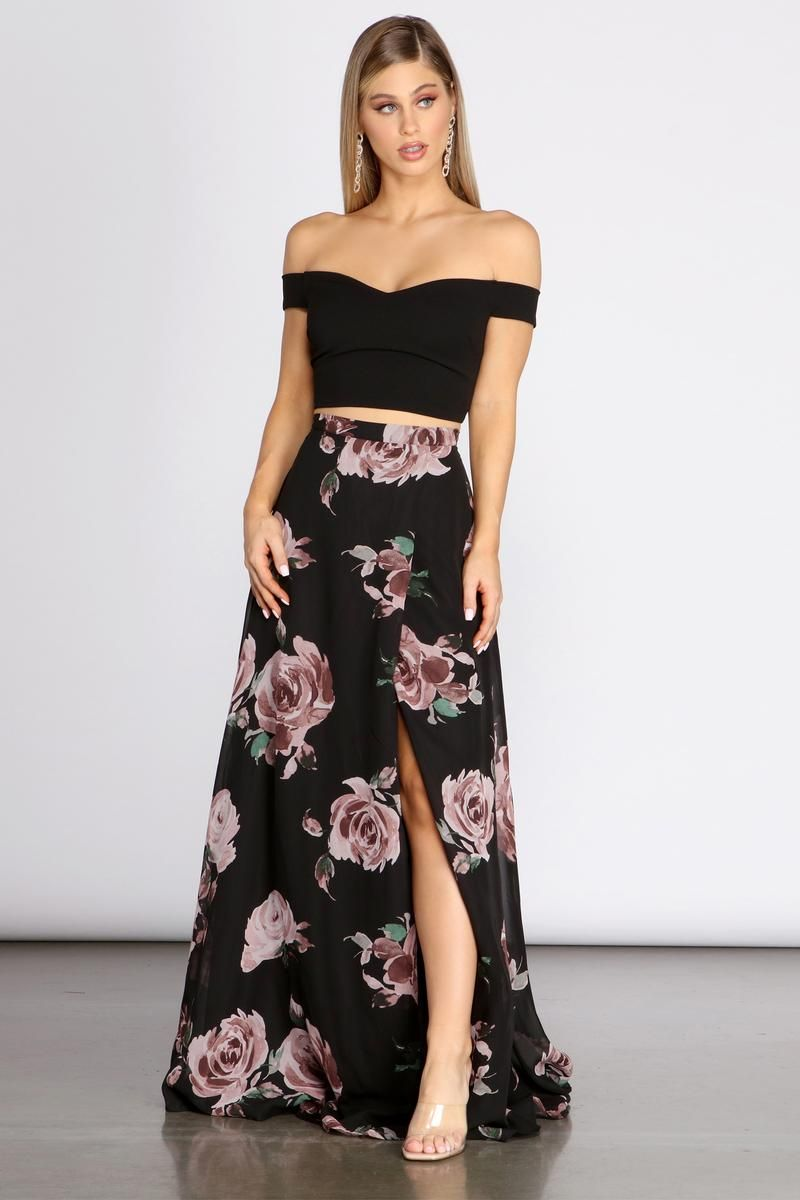 Flora Floral Two Piece Dress In 2021 Two Piece Dress Prom Dresses Two Piece Two Piece Dress Casual [ 1200 x 800 Pixel ]