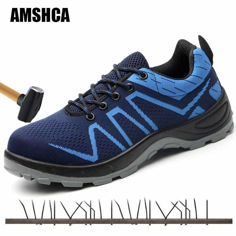Safety Shoes Mens Steel Toe Lightweight Anti-smashing Indestructible Breathable Sneakers Men Outdoor Toe Footwear Work Safety Work & Safety Boots Men's Shoes