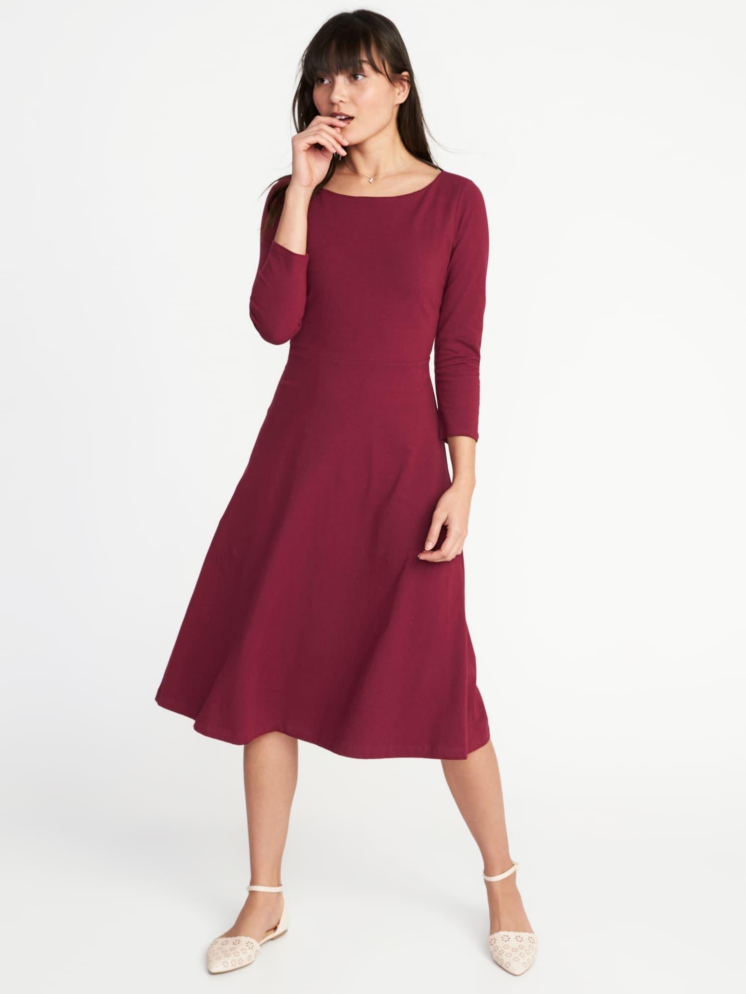 Fit flare midi dress womens dresses dresses dress