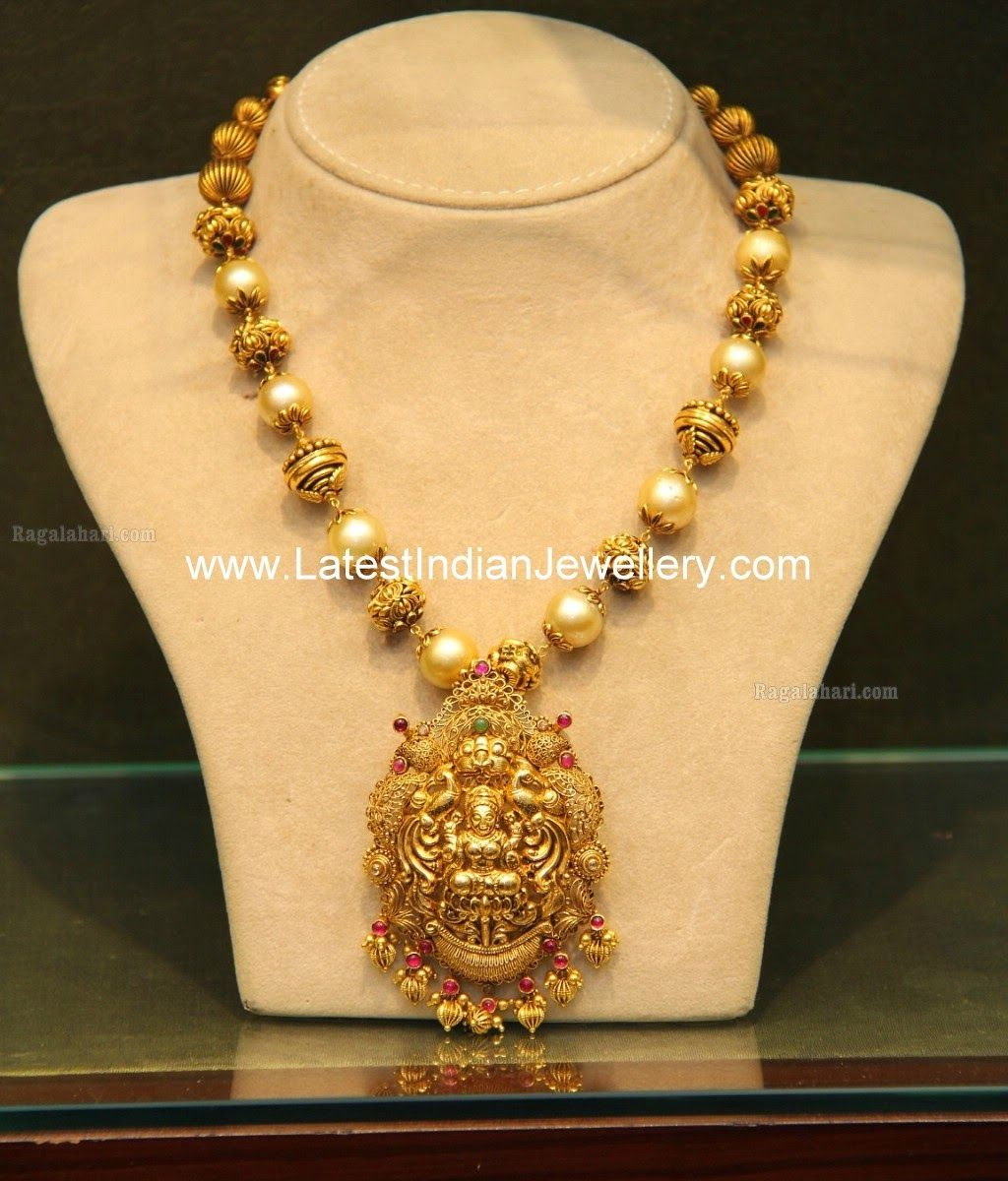 Indian Gold Jewellery Necklace Designs With Price: Malabar Gold Temple Jewellery With Pearls