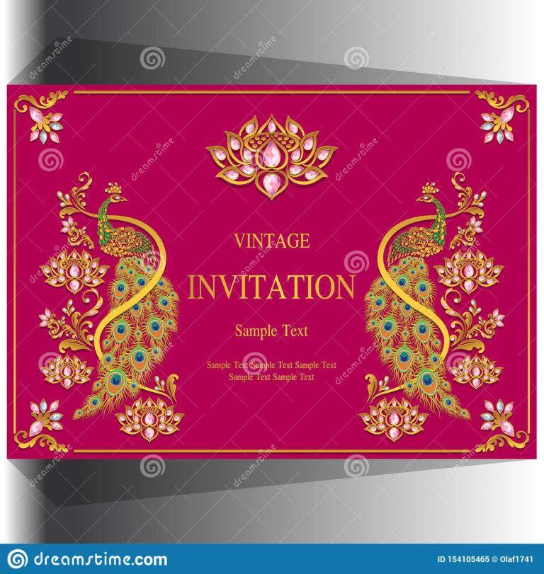 Indian Wedding Invitation Card Templates Stock Vector Pertaining To In 2020 Indian Wedding Invitation Cards Wedding Invitation Card Template Wedding Invitation Cards