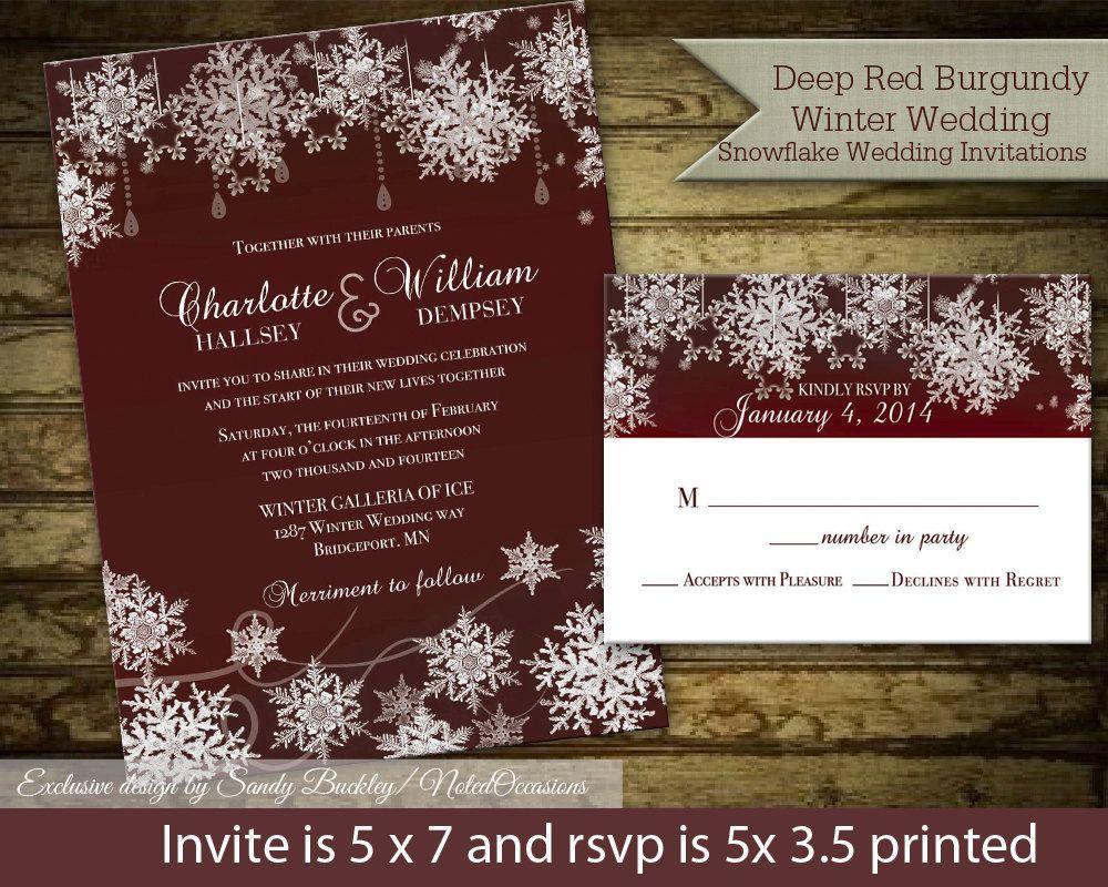 free templates for wedding response cards%0A Winter Wedding Invitation Set Snowflake Wedding Marsala Wine Rustic  Snowflake Winter Wedding Invitation Suite Digital printable DIY Template