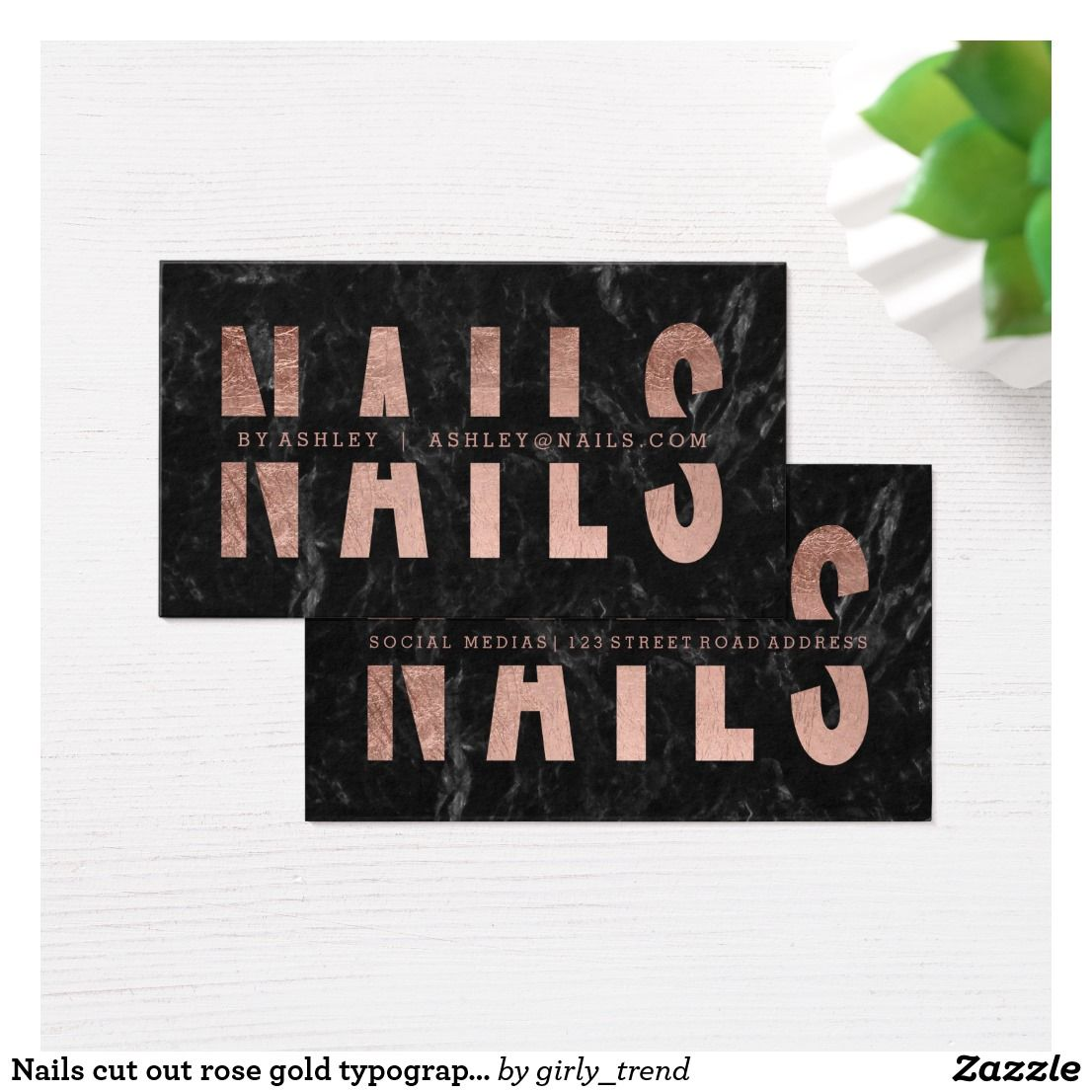 Nails cut out rose gold typography black marble business card ...