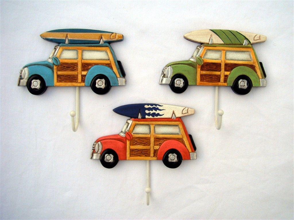 3 Set/3 Hooks Woody w/ Surfboard Towels No Problem, Beach   Momma\'s ...