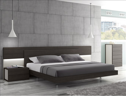 Bedroom Sets New Jersey maia wenge premium king size platform bed with built-in headboard