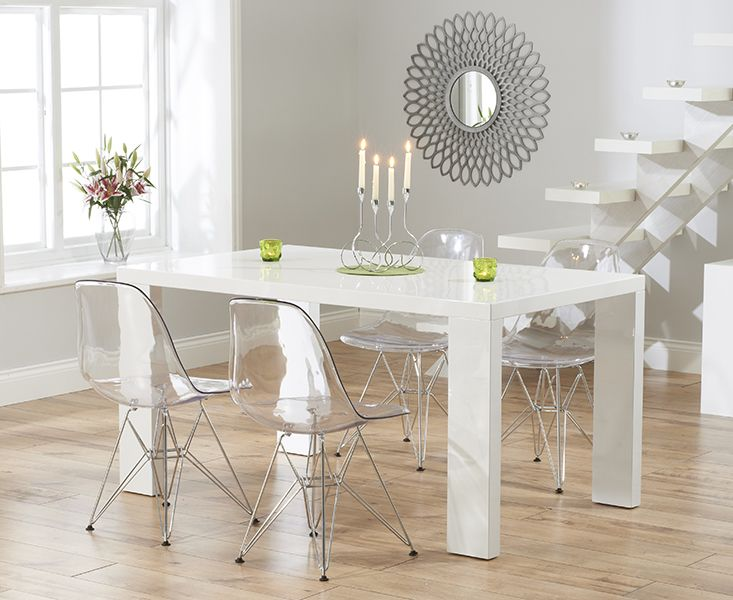 Monza 150cm White High Gloss Dining Table With Charles Eames Style DSR Eiffel Transparent Chairs
