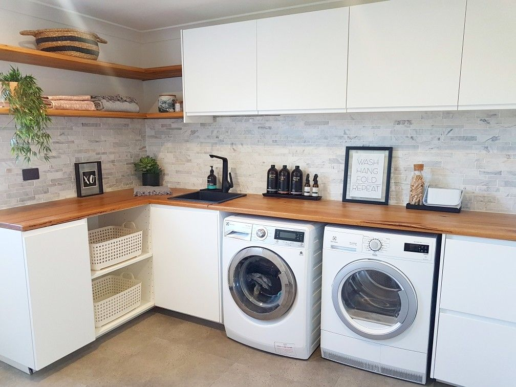 Laundry Inspo Created Using Ikea Kitchen Cupboards