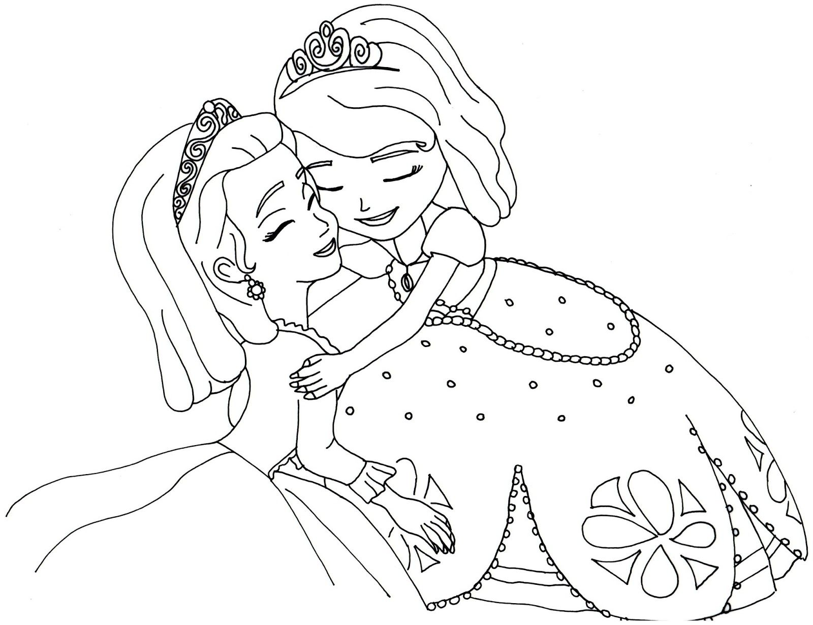 Sofia The First Coloring Pages Sofia And Amber Hugged Free Coloring Page Princess Coloring Pages Disney Princess Coloring Pages Mermaid Coloring Pages