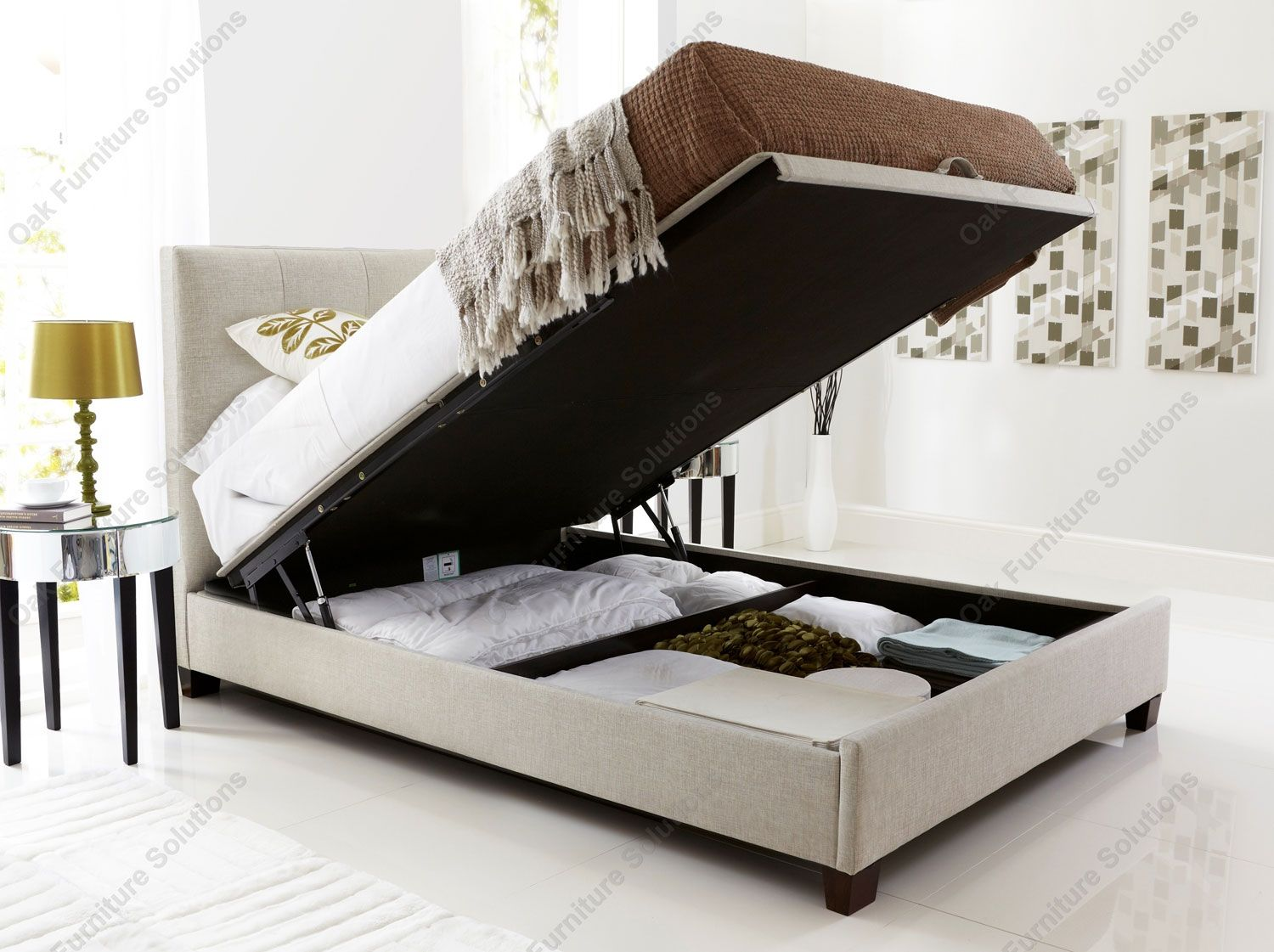 kaydian walkworth oatmeal fabric ottoman storage bed double king size or super king size double bed - King Size Storage Bed Frame