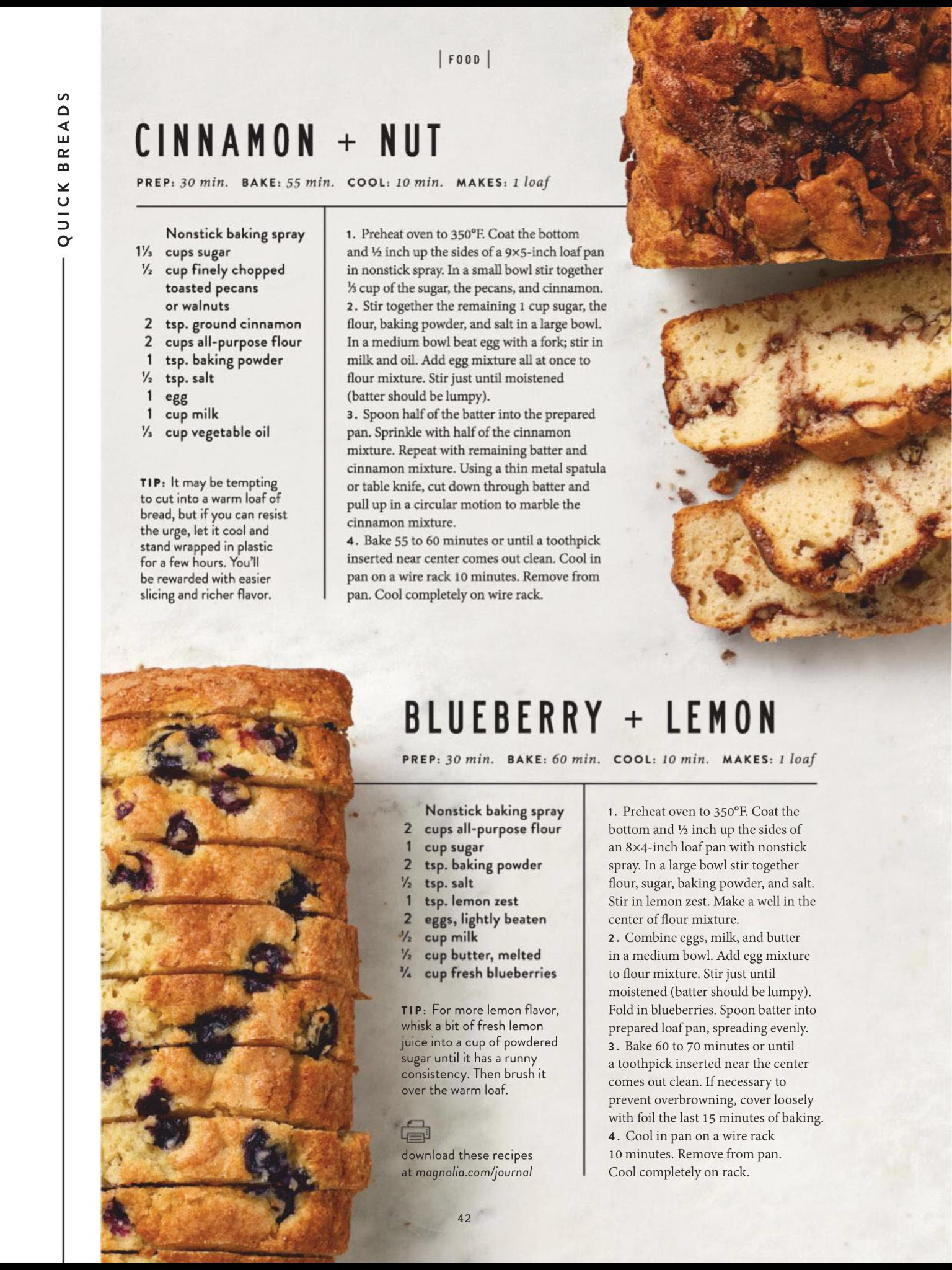 Quick Breads From The Magnolia Journal Spring 2019 Read It On The Texture App Unlimited Access To 200 Lemon Blueberry Bread Blueberry Recipes Lemon Bread