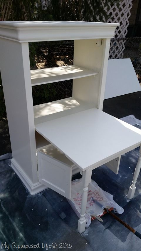 How To Make A Kids Art Desk Out Of An Old Armoire. This Art Desk
