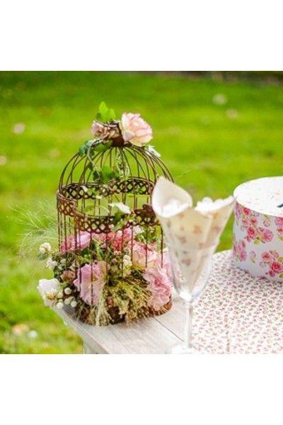 Cage oiseaux en m tal vieilli voli re de d coration - Cage oiseau decoration ...