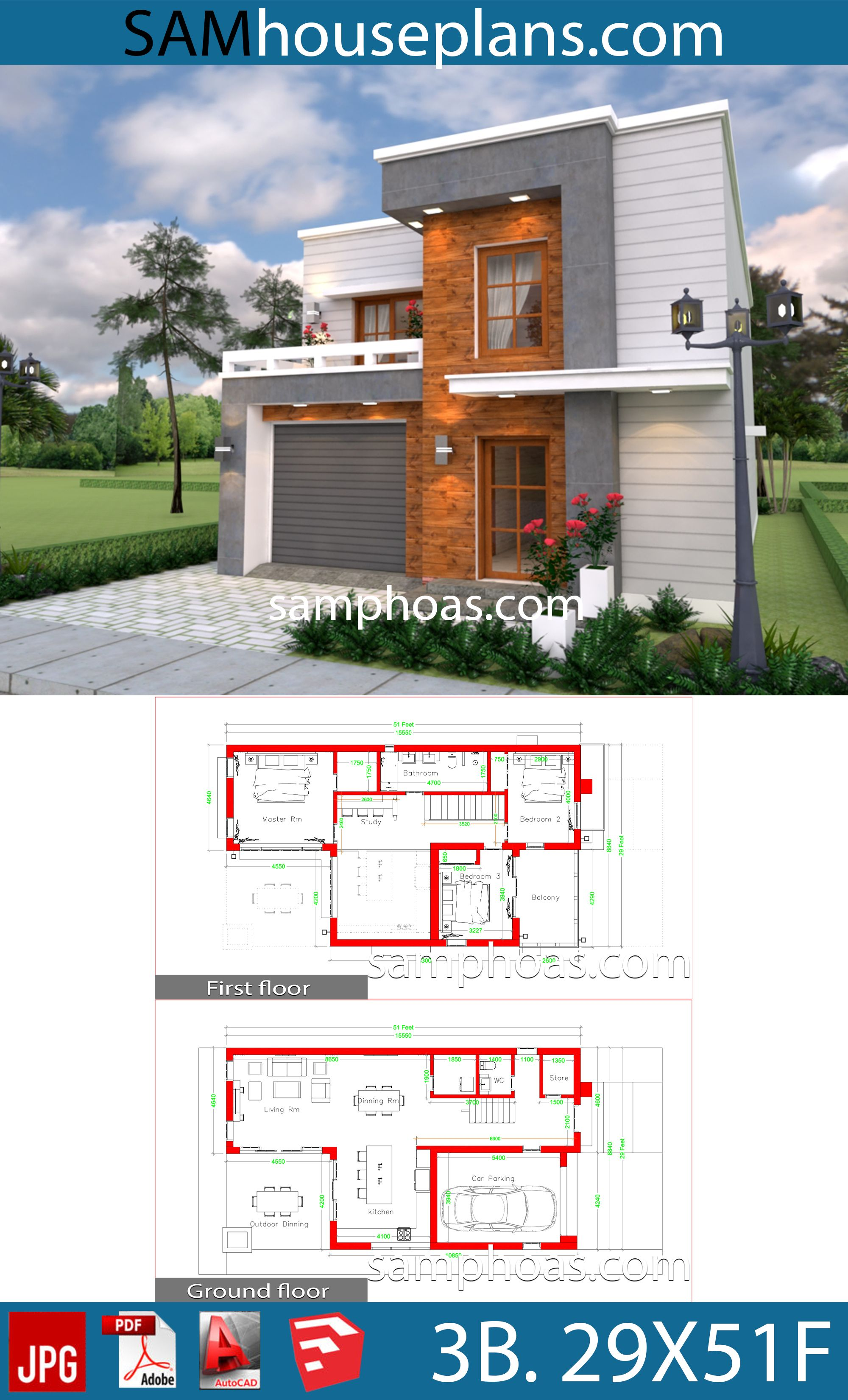 House Design Plans 29x51 Feet With 3 Bedrooms Sam House Plans Home Design Plans Architectural Design House Plans House Design
