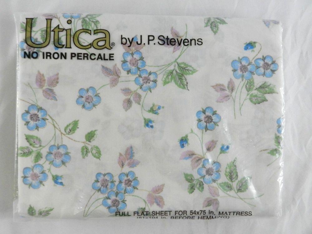 details about vintage utica jp stevens full flat sheet new nip flower bud floral print blue
