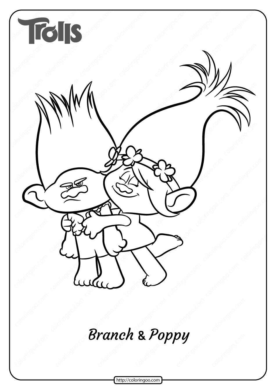 Printable Trolls Branch And Poppy Pdf Coloring Page Coloring Pages Coloring Book Pages Coloring Books