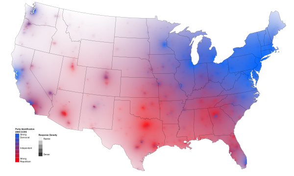 Political Party Map Of The United States.Heat Map Of Political Party Affiliation In The Us David Sparks