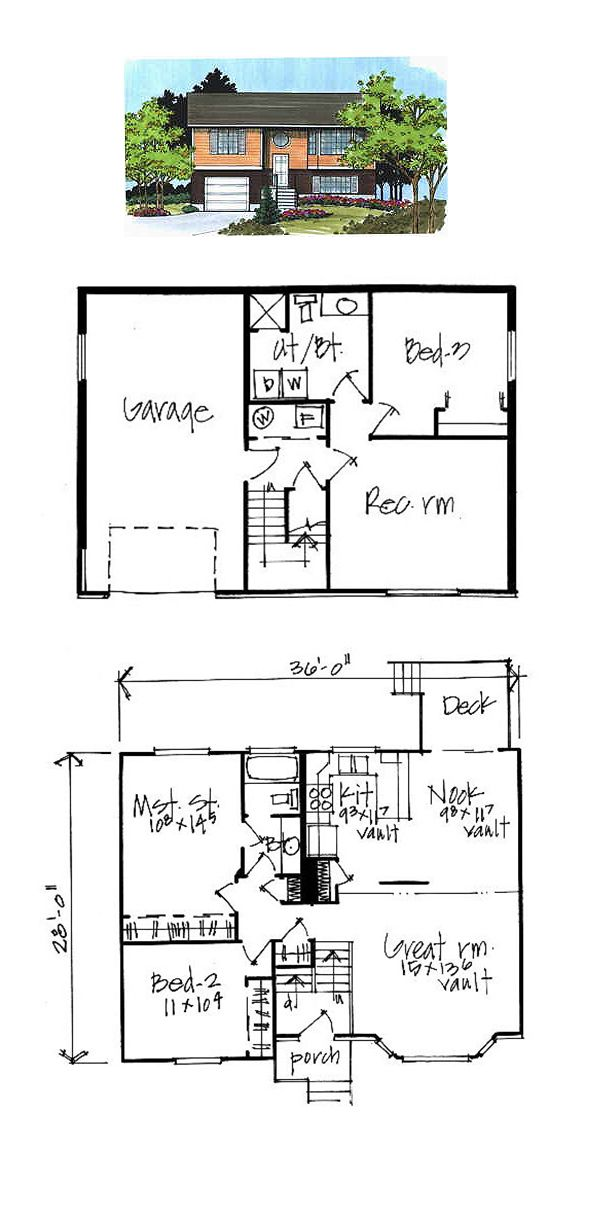 Split Level Cool House Plan Id Chp 498 Total Living Area 983 Sq Ft 2 Bedrooms And 1 Bathroom Splitlev House Plans Best House Plans Rambler House Plans
