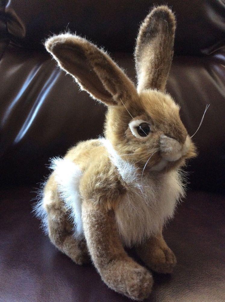 New Hansa Rabbit Hare Bunny Plush Stuffed Animal Sitting Brown White