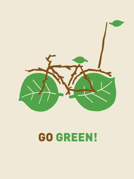 Go Green Go Bike Go For Bike Paths Ilustracao De Bicicleta