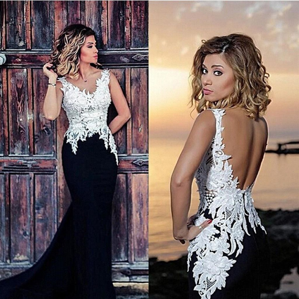 Vneck white lace top black satin long mermaid sexy backless prom