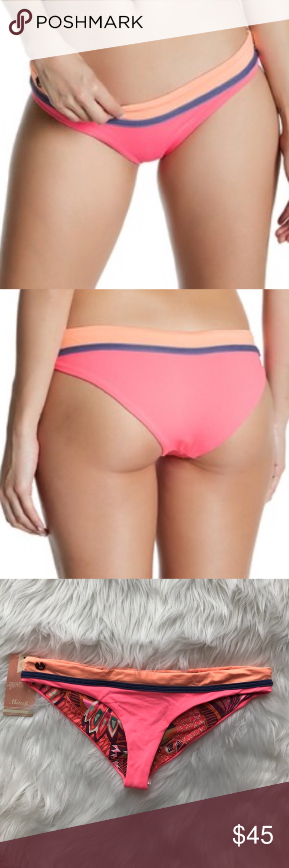 Reversible Cheeky Bikini Bottom in Pink. - size L (also in M,S) Maaji