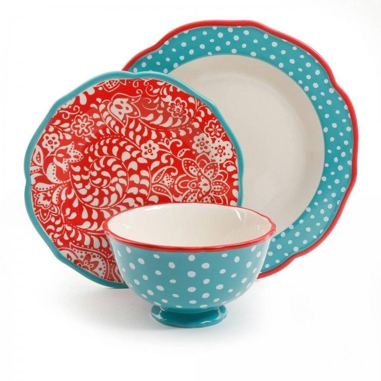 Dinnerware Set 12 Piece Vines Collection Microwave Dishwasher Safe Fl Dots Dinnerwareset12piece