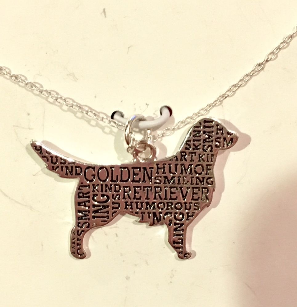 Sterling Silver Golden Retriever Silhouette Charm Pendant Necklace W