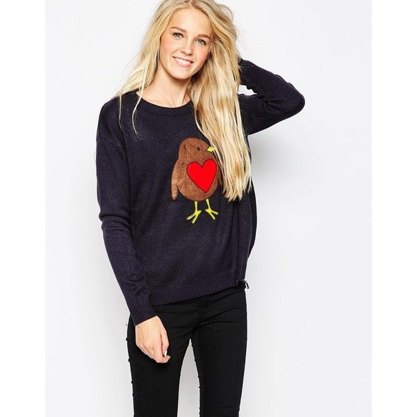 Brave Soul Love Robin Holidays Sweater ($27) ❤ liked on Polyvore featuring tops, sweaters, navy, lightweight sweaters, navy jumper, navy sweater, christmas tops and jumper top