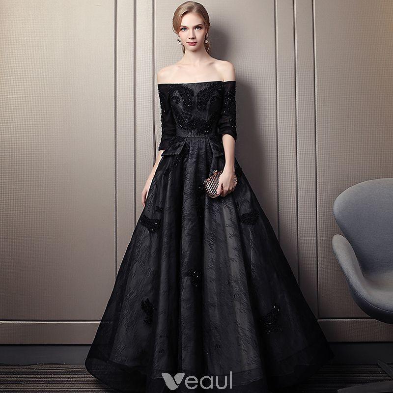 1362438ebf Elegant Black Evening Dresses 2019 A-Line   Princess Off-The-Shoulder  Beading