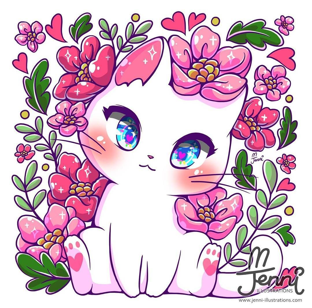 J E N N I On Instagram Floral Kitty Floral Kitty Botanical Catlover White Cute Animal Drawings Kawaii Kawaii Art Cute Kawaii Drawings